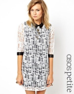 Asos Exclusive Geo Embroidered Mini Dress with Leather Look Collar and Cuff - Cream/black