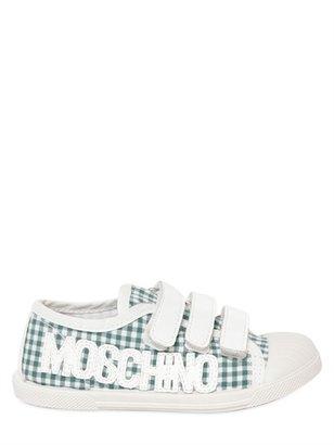 Moschino Vichy Cotton Logo Sneakers