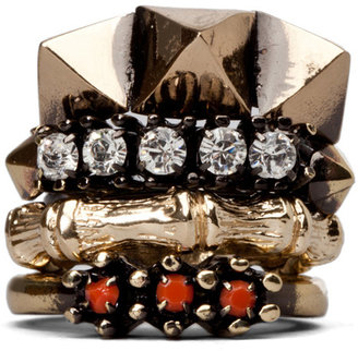 Iosselliani Set of 4 Rings with Swarovski Stones in Coral