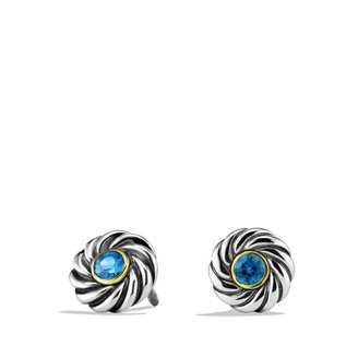 David Yurman Cable Kids September Birthstone Earrings with Sapphire and Gold