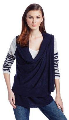 BCBGMAXAZRIA Women's Striped-Sleeve Wrap Cardigan Sweater