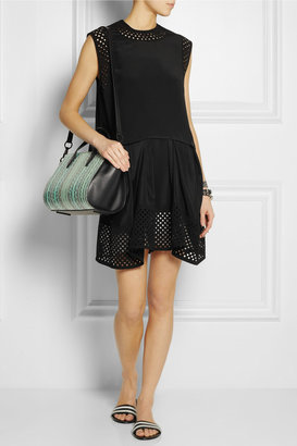 Laser-cut crepe-trimmed silk mini dress