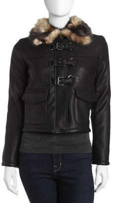 Romeo & Juliet Couture Faux-leather Jacket With Faux-fur Collar, Black