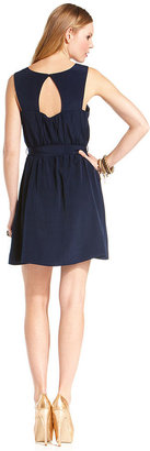 Amy Byer Juniors Dress, Sleeveless Embellished Belted A-Line