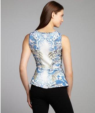Wyatt Blue Ornate Print Stretch Neoprene Peplum Sleeveless Top