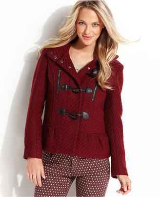 Kensie Coat, Hooded Medium-Weight Wool-Blend