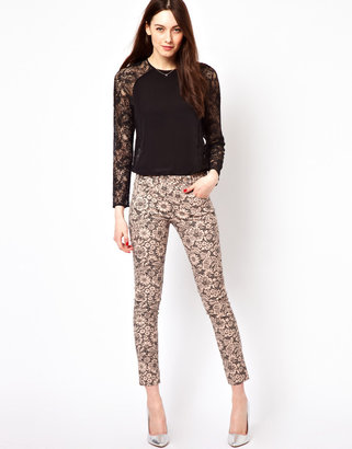 French Connection Printed Lace Pants