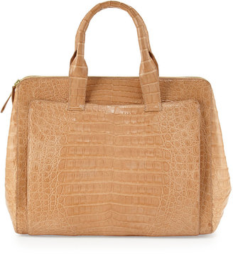 Nancy Gonzalez Crocodile Large Zip Tote Bag, Beige
