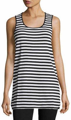 Joan Vass Plus Size Striped Cotton Tank
