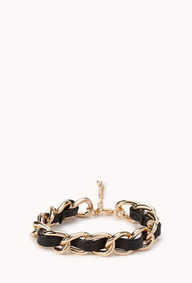 Forever 21 Faux Leather Curb Chain Bracelet