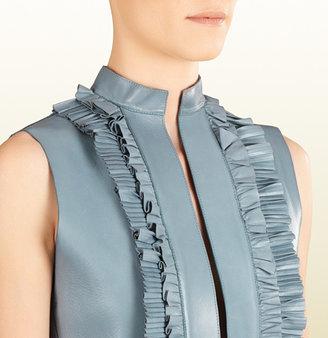 Gucci Leather Ruffle Front Sleeveless Dress