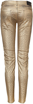 Faith Connexion Metal Jacquard Slim Fit Jeans in Gold