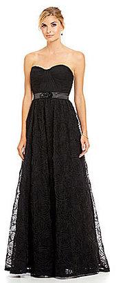 Adrianna Papell Strapless Rosette-Skirt Gown