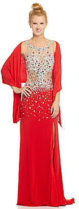 Jovani JVN by High-Neck Illusion Beaded Gown