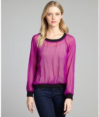 Jay Godfrey magenta and black silk chiffon sweatshirt styled blouse