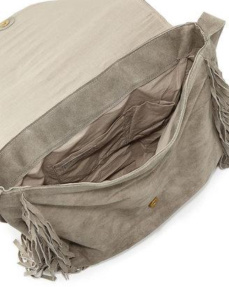 Raj Jessica Suede Fringed Crossbody Bag, Gray