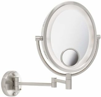 Jerdon HL9515N 8-Inch Lighted Wall Mount Oval Makeup Mirror with 10x and 15x Magnification
