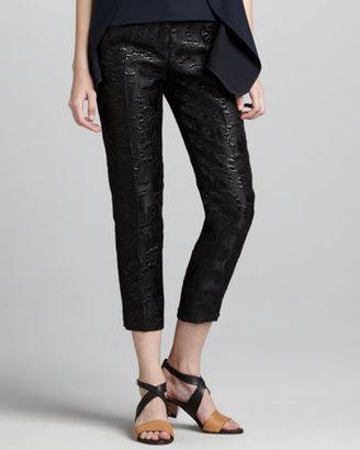 Marni Cropped Shimmer Jacquard Pants, Black