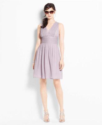 Ann Taylor Silk Georgette Pleat Tank Dress