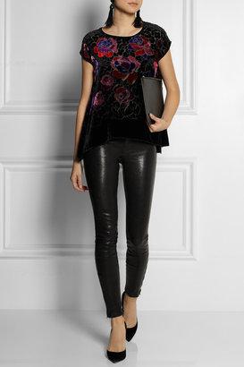 Anna Sui Rose-patterned burnout velvet top