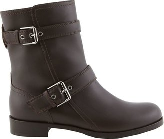 Gianvito Rossi Double-Buckle Moto Boots-Brown