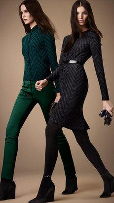 Burberry Slim Fit Herringbone Print Silk Shirt