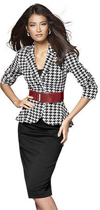 Fitted Ponté-Knit Houndstooth Peplum Jacket