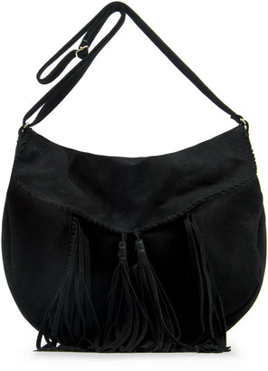 MANGO Tassel leather handbag