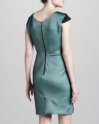 Zac Posen Two-Tone Jersey Dress, Green/Black