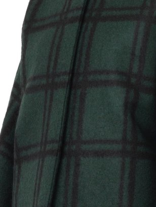 Marni Collarless checked cocoon coat