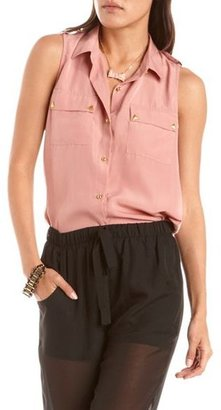 Charlotte Russe Pyramid Button Woven Blouse