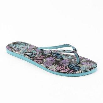 So ® glitter butterfly patent flip-flops