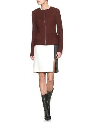 Narciso Rodriguez Burgundy Fleece Wool Zip Jacket