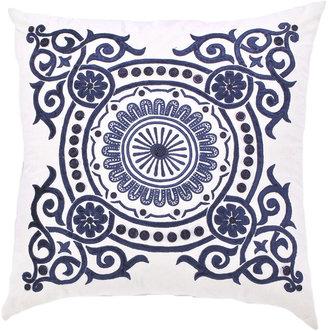Blue Circular Medallion Pillow