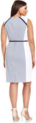 Jones New York Signature Plus Size Sleeveless Colorblocked Belted Dress