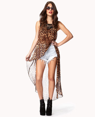Forever 21 leopard print high-low top