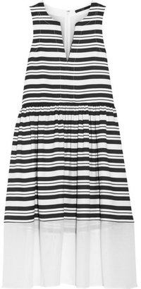 Tibi Mesh-trimmed striped woven dress