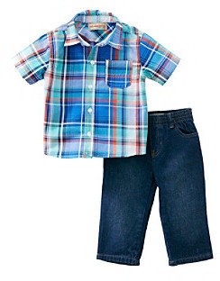 Kids Headquarters Baby Boys' Blue 2-pc. Plaid Shirt and Jeans Set