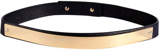 Sophie Hulme Navy Grainy Leather Metal Panel Belt