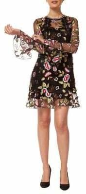 Dex Embroidered Poet-Sleeve Shift Dress