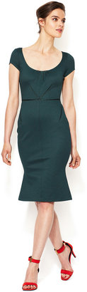 Zac Posen Satin Piped Sheath