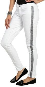Wet Seal WetSeal Tuxedo Sequin Skinny Jean White