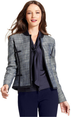 Kasper Jacket, Micro-Tweed Collarless Blazer