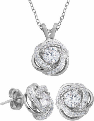 FINE JEWELRY DiamonArt Cubic Zirconia Love Knot Pendant Necklace & Earring Set