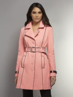 New York & Co. The NY Trench - Faux Leather Piping