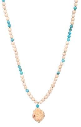Yochi Design Turquoise & Ivory Beads with Buddha Necklace