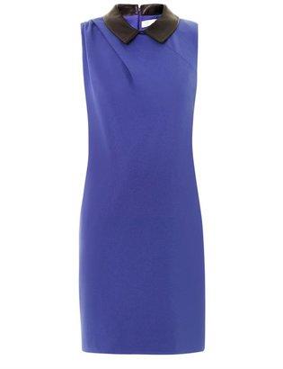 Thakoon Leather-collar crepe dress