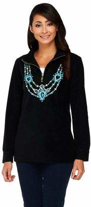 Bob Mackie Embellished Neckline Fleece Pullover