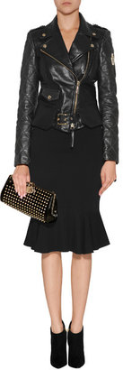 Just Cavalli Quilted Leather Biker Jacket in Black