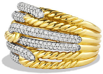 David Yurman Labyrinth Triple-Loop Ring with Diamonds in Gold